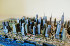 Hai, Ukraine - August 10, 2017: Close-up photo of a 3d New York. City map assembled from puzzles royalty free stock photography
