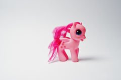Hai, Ukraine - August 10, 2017: colorful toy pony from the famou. S cartoon My Little Pony on the white background Stock Photos