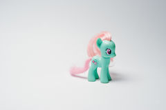 Hai, Ukraine - August 10, 2017: colorful toy pony from the famou. S cartoon My Little Pony on the white background Royalty Free Stock Photography