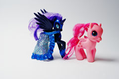 Hai, Ukraine - August 10, 2017: colorful toy pony from the famou. S cartoon My Little Pony on the white background Stock Image