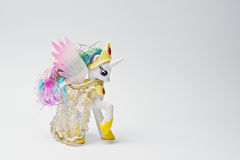 Hai, Ukraine - August 10, 2017: colorful toy pony from the famou. S cartoon My Little Pony on the white background Royalty Free Stock Images