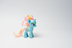 Hai, Ukraine - August 10, 2017: colorful toy pony from the famou. S cartoon My Little Pony on the white background Royalty Free Stock Photo