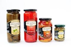 Hai, Ukraine -14 March 2017: Different canning in brine on pot B Stock Photos