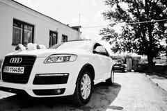 Hai, Ukraine - October 20, 2016: Audi Q7 wedding cortege.  Stock Photo