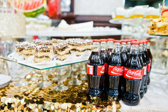 Hai, Ukraine - October 25, 2016: Coca Cola bottle on the buffet. Table royalty free stock image