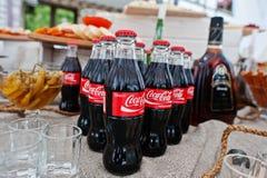 Hai, Ukraine - October 25, 2016: Coca Cola bottle on the buffet. Table stock photography