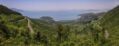 Da Nang bay and city from the Hai Van Pass, Thua Thien-Hue Province, Vietnam. The Hai Van Pass, ocean cloud pass, is an approximately 21 km long mountain pass on stock images