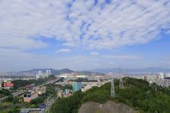 haicang桥梁和xianyueshan小山, amoy城市,瓷 免版税库存照片
