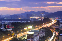 Haicang bridge sunset Stock Photo