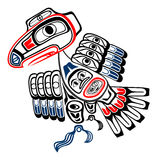 Haida raven. Classic Haida Gwaii stylized raven, the trickster of Northwestern American coastal beliefs. Eye-catching vector illustration in red, blue and bold Stock Photo