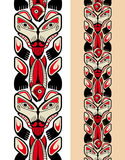 Haida style seamless pattern. Created with animal images. Vector illustration Stock Photos