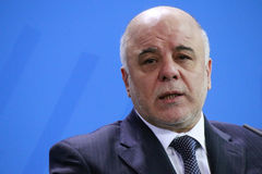 Haider al Abadi. FEBRUARY 6, 2015 - BERLIN: Iraqi Prime Minister Haider al Abadi at a press conference after a meeting with the German Chancellor in the Stock Photography