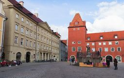 Haidplatz, central place in Regensburg town stock photo