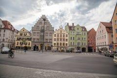 Haidplatz, stadsvierkant in Regensburg, Duitsland Stock Foto