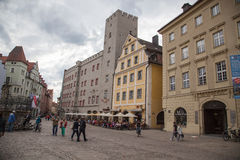 Haidplatz, town square in Regensburg,Germany Royalty Free Stock Photos