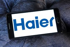 Haier Group Corporation logo. Logo of Haier company on samsung mobile. Haier Group Corporation is a Chinese collective multinational consumer electronics and Royalty Free Stock Image