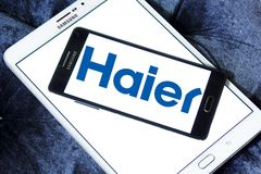 Haier Group Corporation logo. Logo of Haier company on samsung mobile. Haier Group Corporation is a Chinese collective multinational consumer electronics and Stock Photography