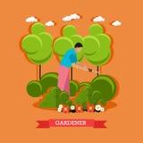 Haies de règlage de jardinier, conception plate illustration de vecteur