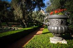Haifa - Baha ` arbeta i trädgården jag garneringar Fotografering för Bildbyråer