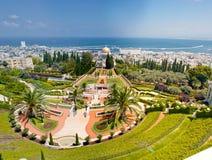Haifa Bahai trädgårds- panorama Arkivfoton
