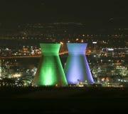 Haifa Bazan Refinery en la noche Imagen de archivo libre de regalías