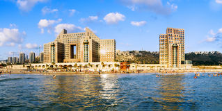 Haifa. Beach Carmel and hotels. Royalty Free Stock Image