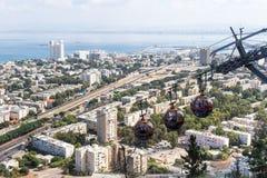 Haifa Cable Cars in Israele Fotografia Stock