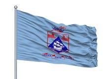 Haifa City Flag On Flagpole, Israel, isolada no fundo branco Ilustração Royalty Free