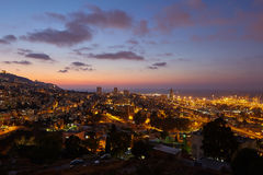 Haifa city, night view aerial panoramic landscape photo Royalty Free Stock Images