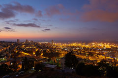 Haifa city, night view aerial panoramic landscape photo Stock Photos