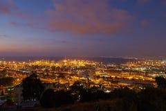Haifa city, night view aerial panoramic landscape photo Stock Image