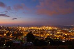 Haifa city, night view aerial panoramic landscape photo Stock Photo