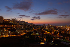 Haifa city, night view aerial panoramic landscape photo Royalty Free Stock Image
