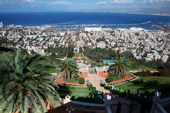 Haifa city, view of the Bahai gardens Stock Photography