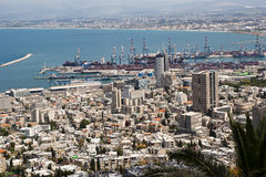 Haifa Downtown and Haifa bay. A view from Mt. Carmel to the north Toward Haifa bay Israel. Can see the port, the north tip of the bay-Acre and Downtown Haifa Royalty Free Stock Images