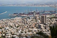 Haifa Downtown och Haifa fjärd Royaltyfria Bilder