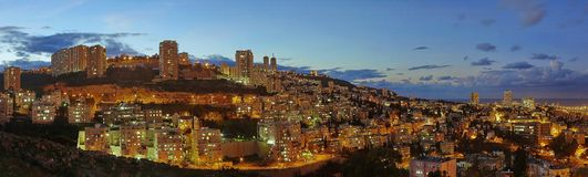 Haifa. Evening Lights Royalty Free Stock Image