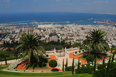 Haifa gardens. The beautiful holy gardens of Haifa with the sight of the sea and the port Royalty Free Stock Photos