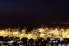 Haifa-Industriehafen, panoramisches Landschaftsvon der luftfoto Lizenzfreie Stockfotos
