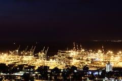 Haifa industriell port, flyg- panorama- landskapfoto Royaltyfria Foton