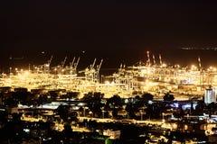 Haifa industriell port, flyg- panorama- landskapfoto Arkivfoton