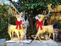 HAIFA, ISRAEL - 22 DE DICIEMBRE DE 2017: Calle de las decoraciones del día de fiesta para la Navidad en la colonia alemana en Hai Fotos de archivo