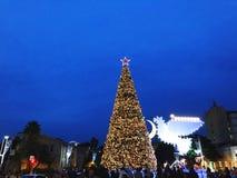 HAIFA, ISRAEL - 22 DE DICIEMBRE DE 2017: Menorah del árbol de navidad y de Jánuca bajo la forma de paloma en Haifa Foto de archivo libre de regalías
