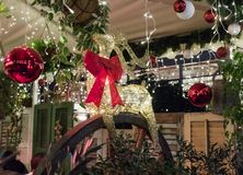 Decoratively decorated for Christmas celebrations Sderot Ben Gurion street in Haifa in Israel. Haifa, Israel, December 08, 2017 : Decoratively decorated for Stock Photography