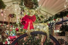 Decoratively decorated for Christmas celebrations Sderot Ben Gurion street in Haifa in Israel. Haifa, Israel, December 08, 2017 : Decoratively decorated for Royalty Free Stock Photos