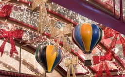 Decoratively decorated for Christmas celebrations Sderot Ben Gurion street in Haifa in Israel. Haifa, Israel, December 08, 2017 : Decoratively decorated for Royalty Free Stock Photo