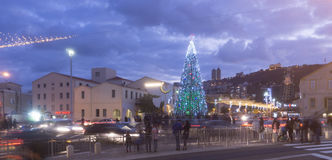 HAIFA, ISRAEL - DECEMBER 10, 2016: The German Colony decorated with symbols of cultures for the winter holidays in Haifa stock photo