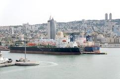 Haifa Israel - 19 Maj - sikt av hamnstaden av Haifa Royaltyfri Foto