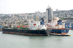 Haifa, Israel -May 19 -Мerchant ships and views of the city, 2013 Royalty Free Stock Photography