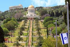 Bahai Gardens and the Temple of Baba in Haifa royalty free stock images